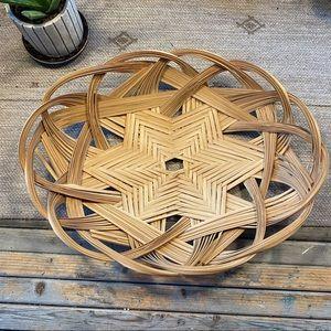 Vintage boho Wicker woven basket tray wall hanging
